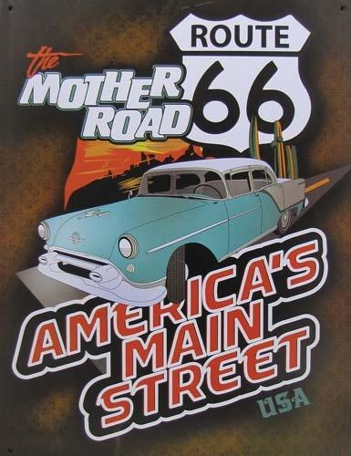 Route 66 METAL SIGN - AMERICA'S MAIN STREET