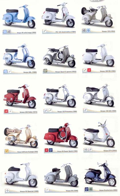 Set of 12 Vespa Motor Scooter