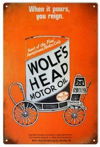 Vintage When It Pours You Reign Wolf's Head Motor Oil