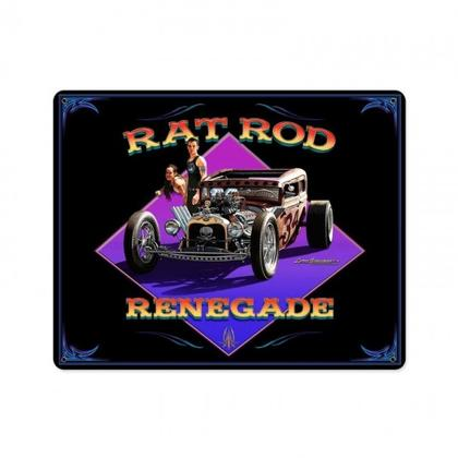 Rat Rod Renegade  **Shield Metal Sign**