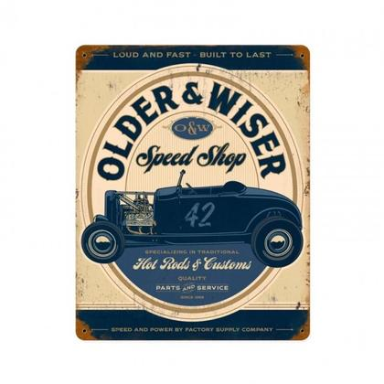 OLDER AND WISER SPEED SHOP VINTAGE BLUE