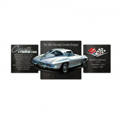 Set of 3 Tin Sign3D CORVETTE TRIPTYCH