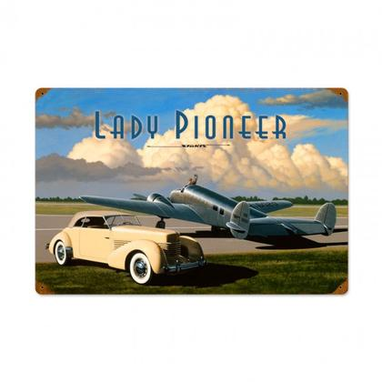 Lady Pioneer   **Shield Metal Sign**