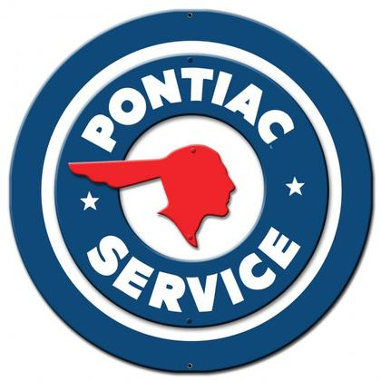 PONTIAC SERVICE ROUND 3D  **Shield Metal Sign**