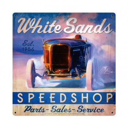 WHITE SANDS SPEED SHOP **Shield Metal Sign**