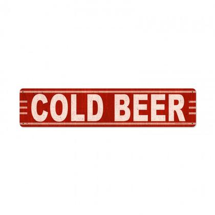 COLD BEER  **Shield Metal Sign**
