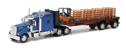 Kenworth W900 Flatbed Trailer with Forklift and Pallets