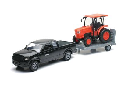 Ford Pickup truck with trailer and kubota L6060 Farm Tractor