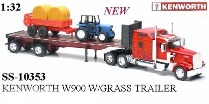 Kenworth W900 with GrassTrailer and Tractor