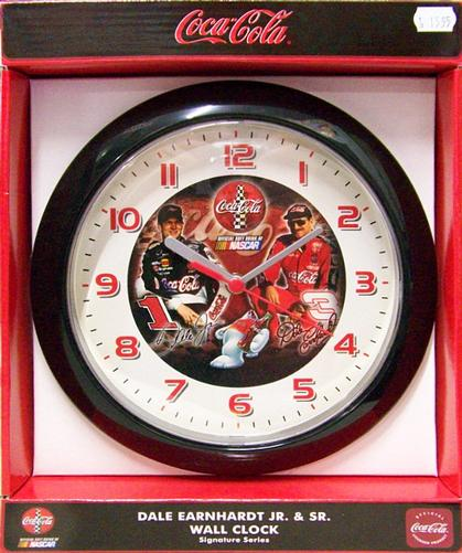 dale earnhardt jr. & sr. wall clock coca-cola