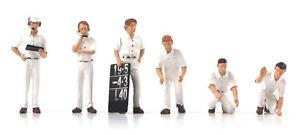 F1 Pit Crew Figurines Classic Style white (Set of 6) 1/43