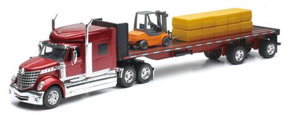 International Lonestar Flatbed W/ Forklift & Hay Bales
