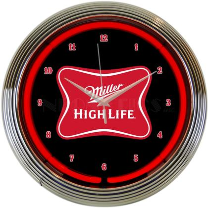 MILLER HIGH LIFE BEER NEON CLOCK