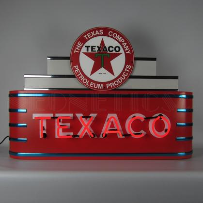 ART DECO MARQUEE TEXACO NEON SIGN IN STEEL CAN