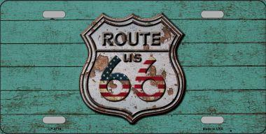 ROUTE 66 RUSTY ON WOOD