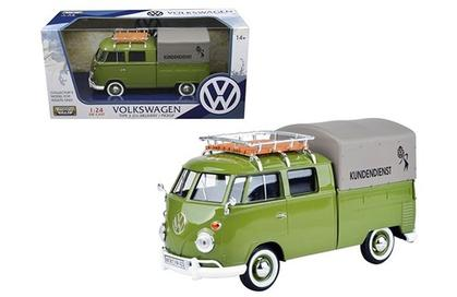 VW Volkswagen Type 2 Pickup Truck Covered With Basket On Roof