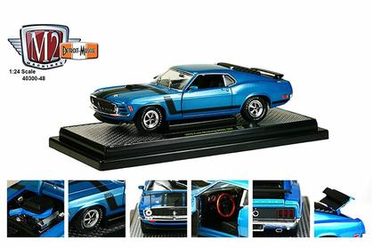 1970 Ford Mustang Boss 302, Blue with Black Stripes