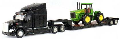 Peterbilt Model 579 Semi with Lowboy Trailer and John Deere 4WD Tractor