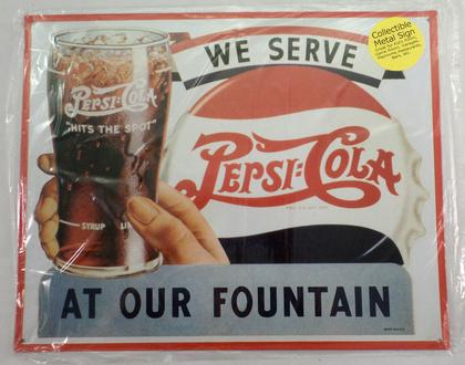 WE SERVE PEPSI COLA AT OUR FOUNTAIN
