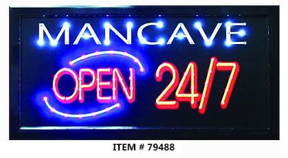 LED FRAME -MEN CAVE OPEN 24/7- 10x19