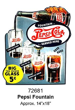 Plate cut-laminated -FONTAINE PEPSI-COLA-14x18