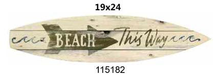 Surfboard laminated 19x24 -Beach THIS WAY-