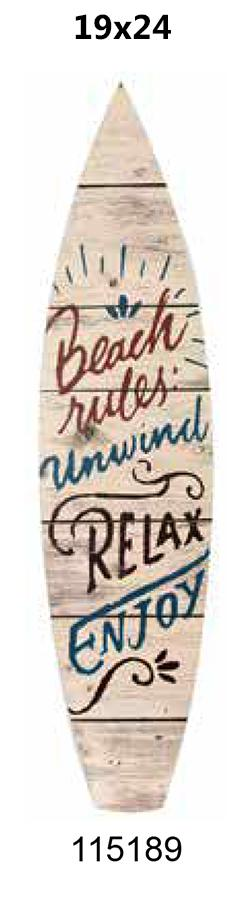 Surfboard laminated 19x24 -BEACH RULES-