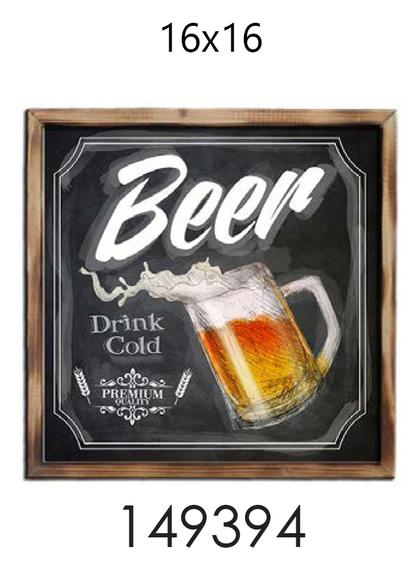 Pub Frame - BEER DRINK COLD- 16x16
