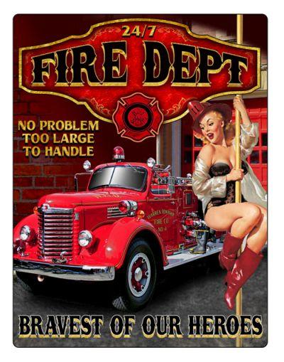 Fire Department 24/7 Embossed Tin Sign