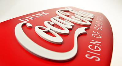 Coca-Cola Fishtail Design Wood Sign
