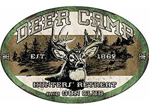 Metal sign DEER CAMP oval 12