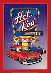 HOT ROD HEAVEN DRIVE-IN  - METAL SIGN 16 3/4
