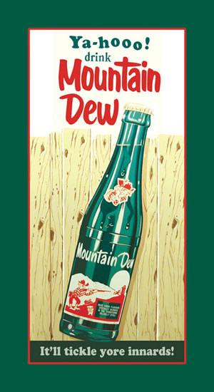 Mountain Dew - Bottle/Wood - Metal sign - 16