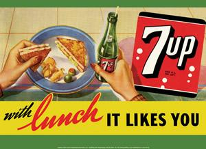 7Up with Lunch It Likes You - Metal sign 16 3/4