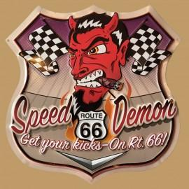 ROUTE 66 - SPEED DEMON- metal sign 13.5