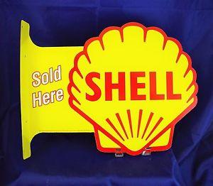 SHELL SOLD HERE  - METAL SIGN **Both sides** 17.5