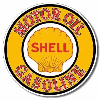 SHELL MOTOR OIL GASOLINE -  METAL SIGN Dia. 23.5