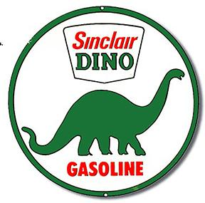SINCLAIR DINO GASOLINE  METAL SIGN **XXL** 23.5 Dia.