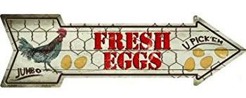 Fresh Eggs Fresh Eggs  - 17' Metal Sign
