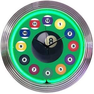 Clock Neon Billiard balls 15 '