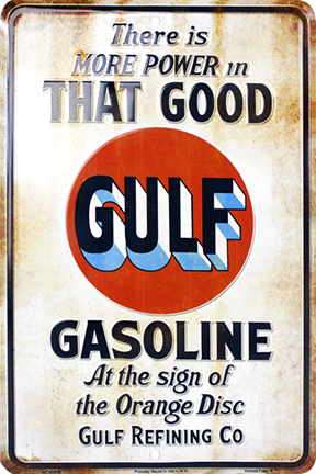 GULF GASOLINE - Embossed metal sign
