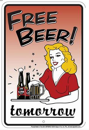 FREE BEER! TOMORROW  8