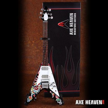 Jimi Hendrix Famous Psychedelic Flying V Miniature Guitar Replica Collectible