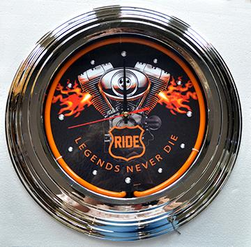 Item 14010  NEON CLOCK  'RIDE-ENGINE'  Dia. 16,5'