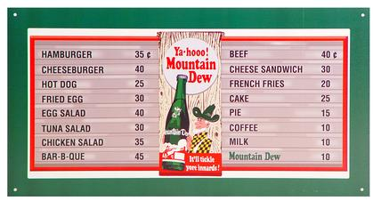 Mountain Dew Hillbilly Diner Menu