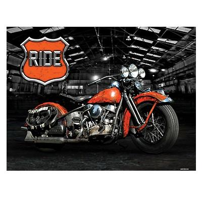 RIDE - Tin Sign - Bike In Warehouse