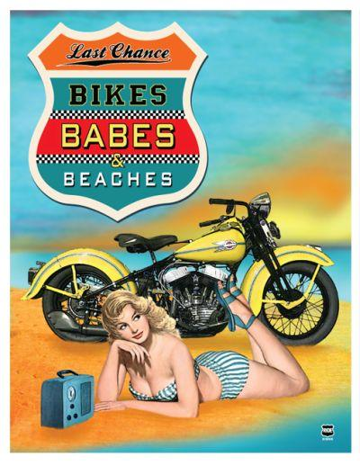 Bikes Babes Beaches  EMBOSSED 13'X17'