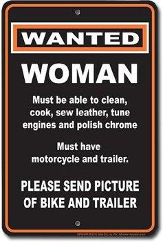 Harley Davidson Tin Sign ~ Woman Wanted ~ Send Pictures of Bike and Trailer