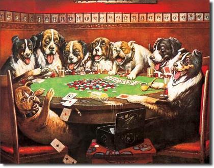 8 Druken Dogs Playing Cards  #E497