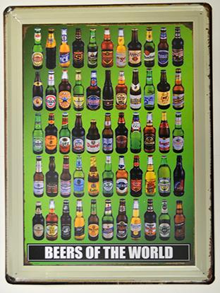 Metal sign - BEERS OF THE WORLD